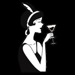 senhora elegante vinho à mão desenhada