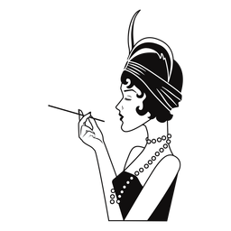 classy lady side-view with cigarette drawn