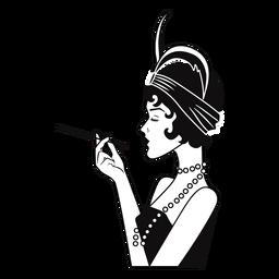 senhora elegante vista lateral com cigarro desenhado