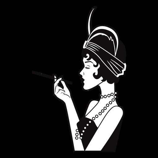 elegante dama vista lateral con cigarrillo dibujado