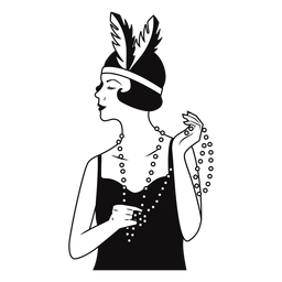 señora con collar de perlas dibujado
