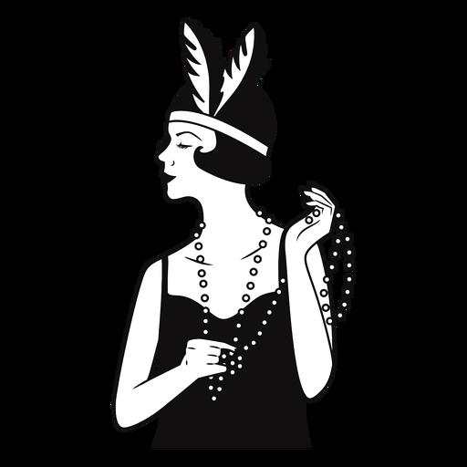 dama con collar de perlas dibujado