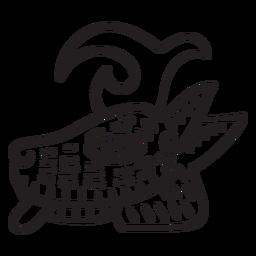 Aztec stroke animal symbol aztec