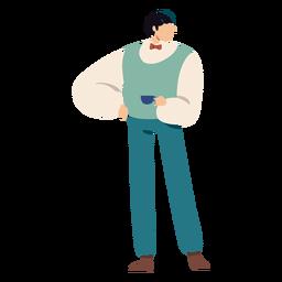 Personaje de hombre británico de dibujos animados