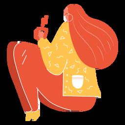 Carácter otoño niña rojo