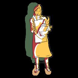 Mulher de padaria personagem com pão