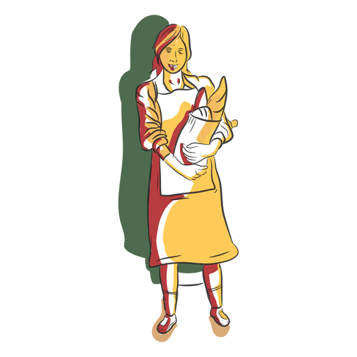 Character bakery woman with bread