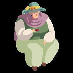 Carácter británico anciana