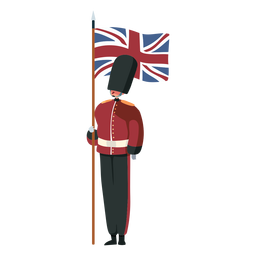 Character british royal guard flag