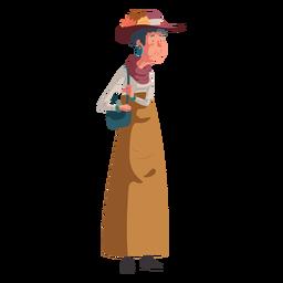 Ilustración de personaje anciana británica