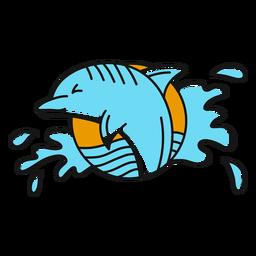 Oldschool de água de golfinho plana