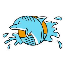 Piso de oldschool de agua de delfines