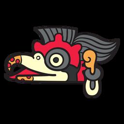 Símbolos aztecas planos pájaros de colores