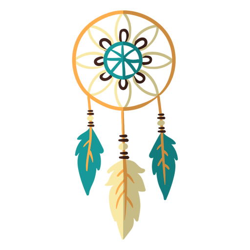 Flat boho dreamcatcher color Transparent PNG