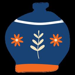 Maceta plana flores azules