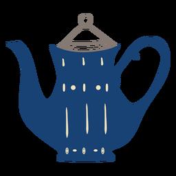 Flache Teekanne blau