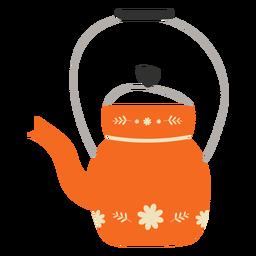 Flat teapot orange