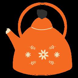 Flache Teekanne orange Blumen