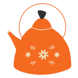 Flat teapot orange flowers