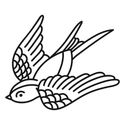 Fliegender Vogel Oldschool Schlaganfall