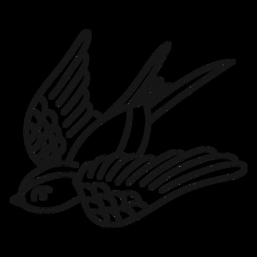 Flying bird oldschool stroke Transparent PNG