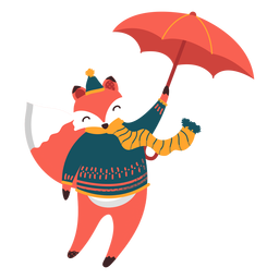 Fox umbrella autumn illustration