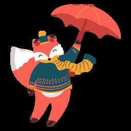 Ilustração de outono de guarda-chuva de raposa