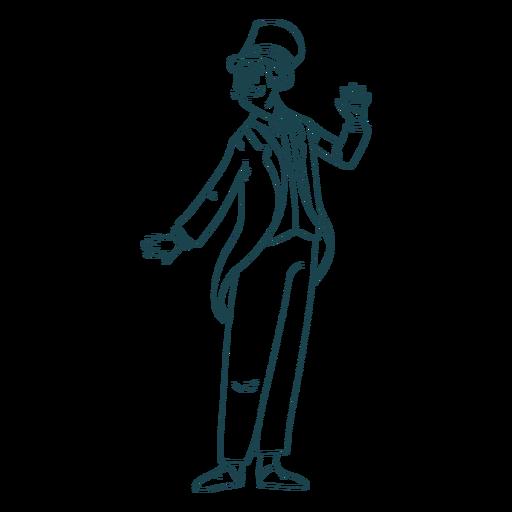Hand drawn british gentelman pose Transparent PNG
