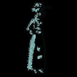 Personagem de vovó britânica desenhada de mão