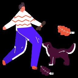 Hombre jugando con perro