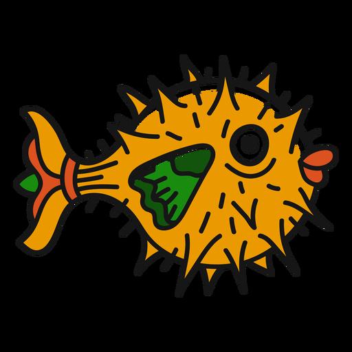 Tatuaje de pez globo de la vieja escuela