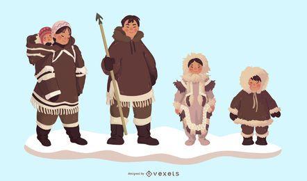 Conjunto de caracteres da família esquimó