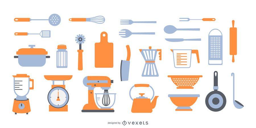 Coleção plana de elementos de cozinha