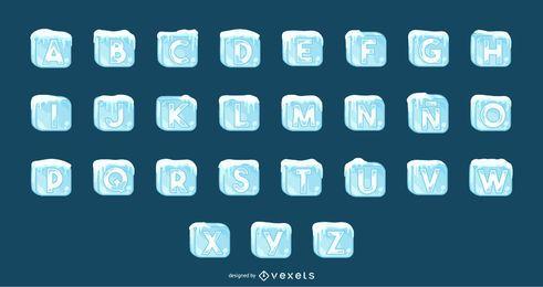Conjunto de alfabeto de cubos de gelo