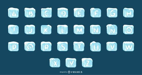 Ice cubes alphabet set