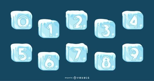 Ice cubes number set