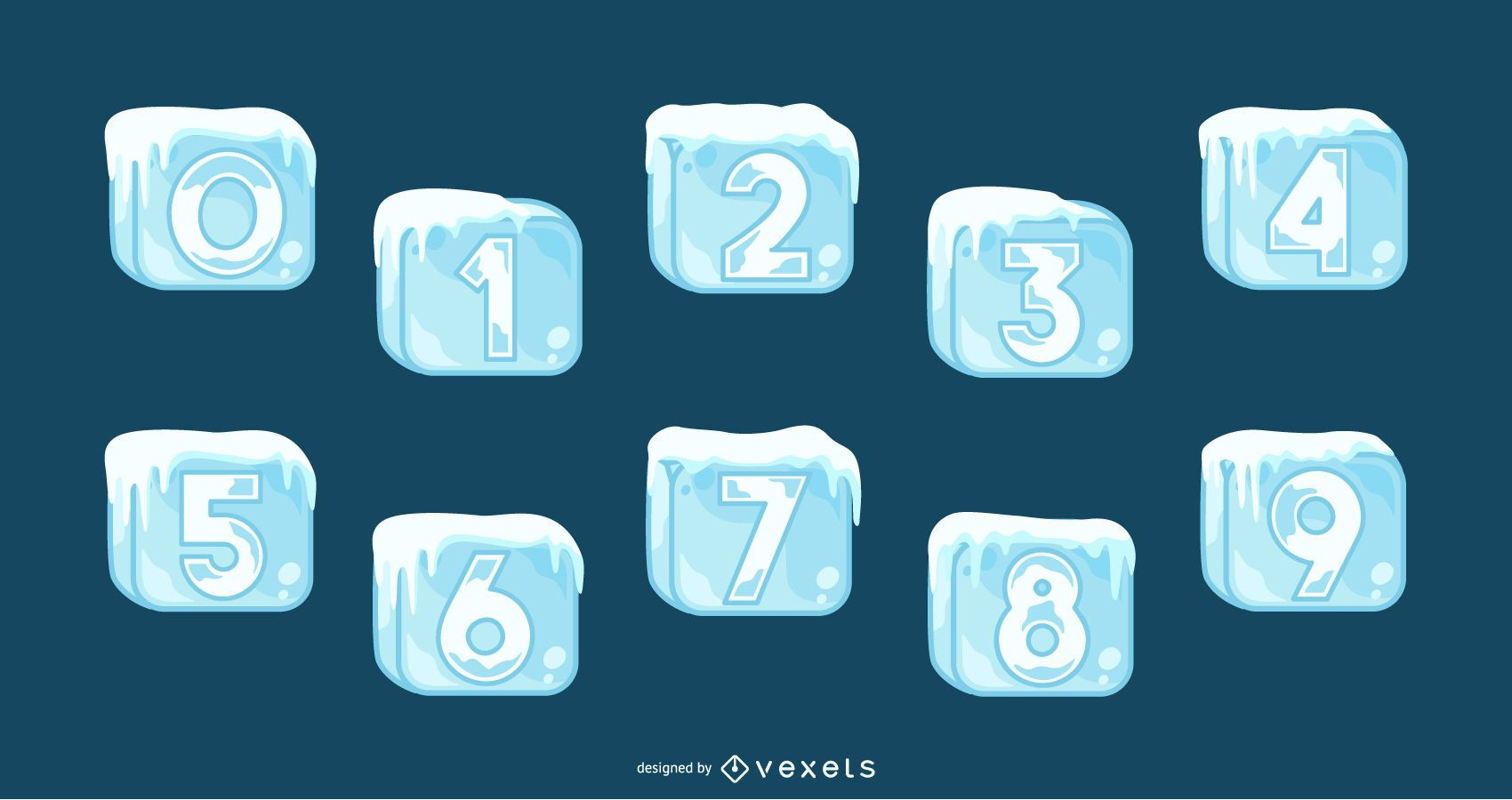 Conjunto de números de cubitos de hielo