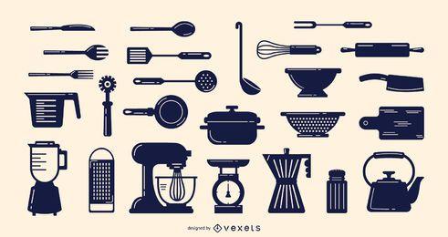 Coleção de elementos culinários