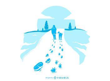 Ilustração de pegadas de neve de cachorro andando