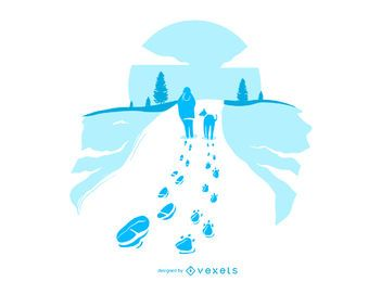 Walking Dog Snow Footprints Illustration