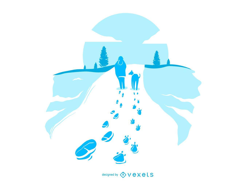 Walking Dog Snow Footprints Illustration