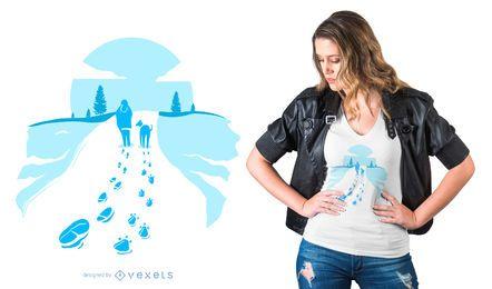 Design de camiseta de caminhada de inverno