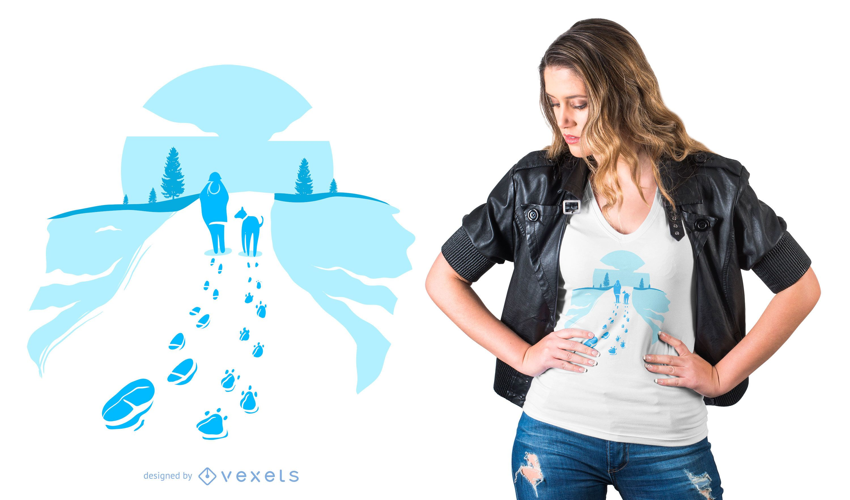 Diseño de camiseta Winter Walk