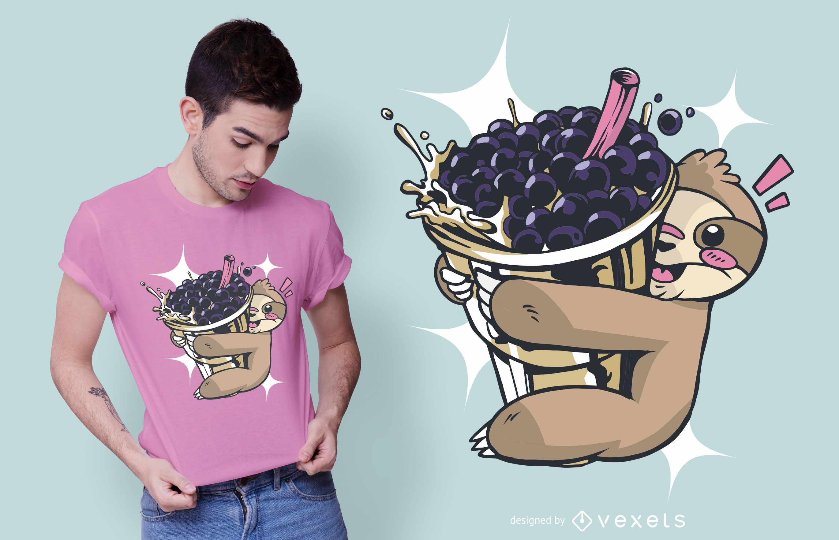 Faultier Bubble Tea T-Shirt Design