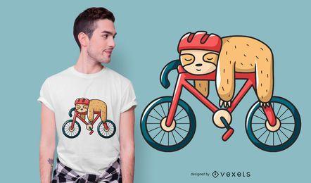 Diseño de camiseta de perezoso de bicicleta.