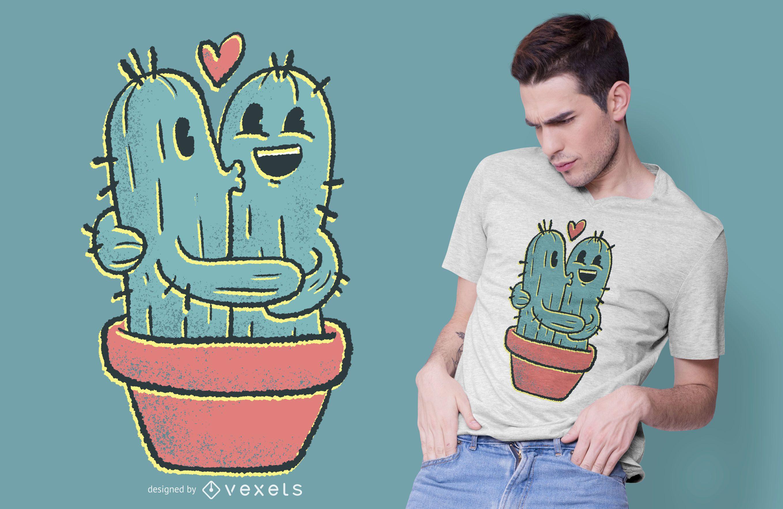 Diseño de camiseta de pareja de cactus.