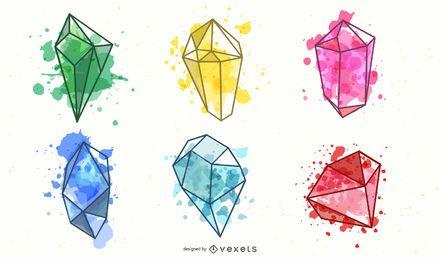 Conjunto de cristal colorido aquarela
