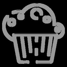 Stroke cupcake icon
