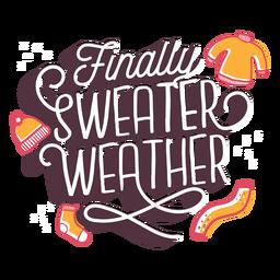 Pullover Wetter Schriftzug