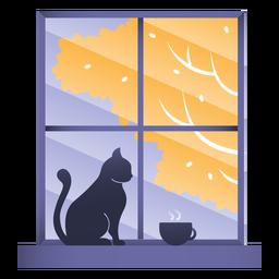 Ilustración de gato de ventana